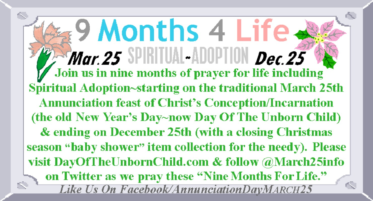 Add a banner to your e mails blogging or website the 9 months 4 life spiritual adoption banner promotes annunciation day as the start of a nine month period of spiritual adoption for the unborn calling us negle Image collections